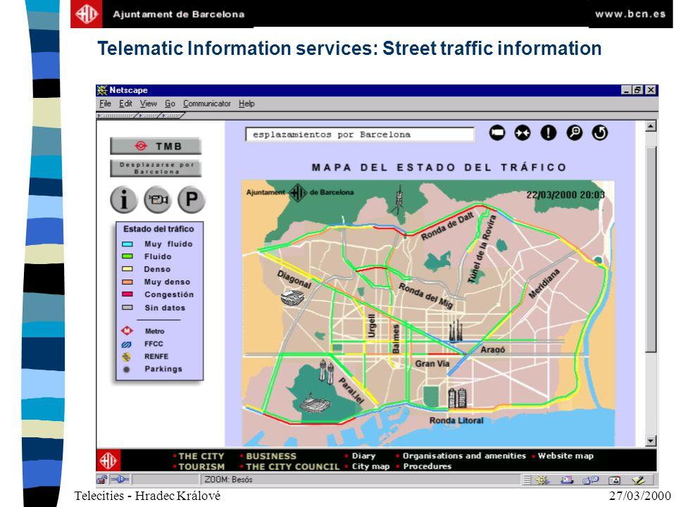 Telecities - Hradec Králové27/03/2000 Telematic Information services: Street traffic information