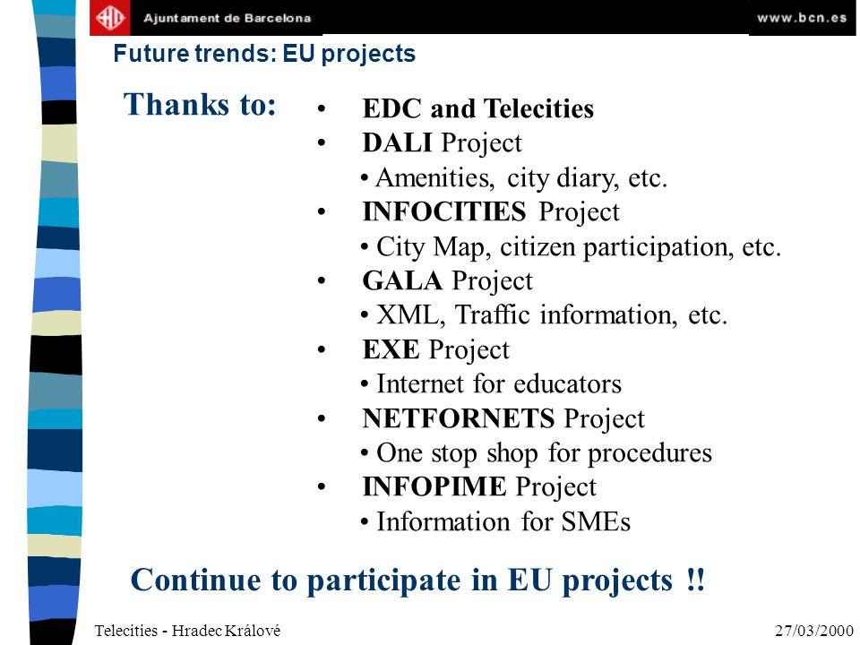 Telecities - Hradec Králové27/03/2000 Future trends: EU projects EDC and Telecities DALI Project Amenities, city diary, etc.