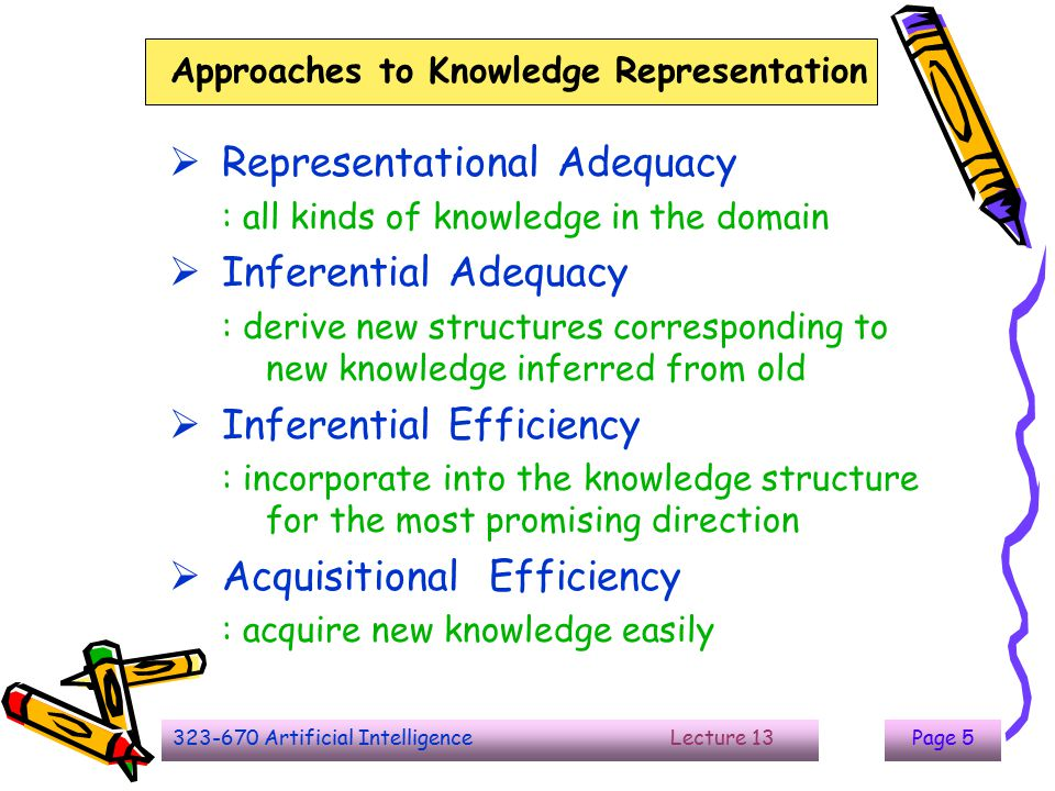 323-670 Artificial Intelligence Lecture 13Page 5 Approaches to Knowledge Representation  Representational Adequacy : all kinds of knowledge in the do