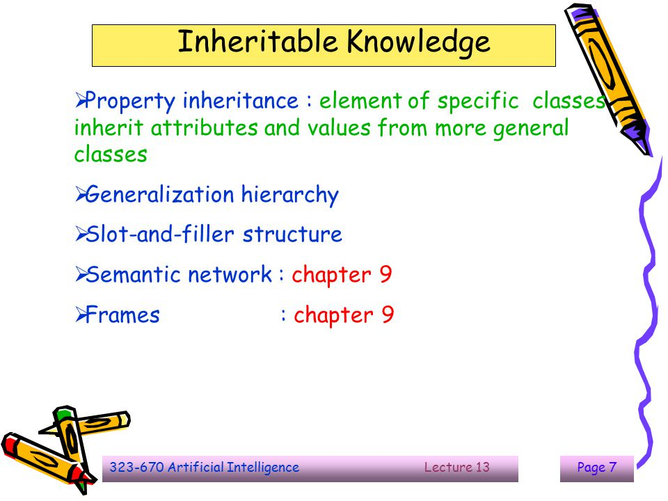 323-670 Artificial Intelligence Lecture 13Page 8 Inheritable Knowledge  Baseball knowledge  isa : show class inclusion  instance : show class membership