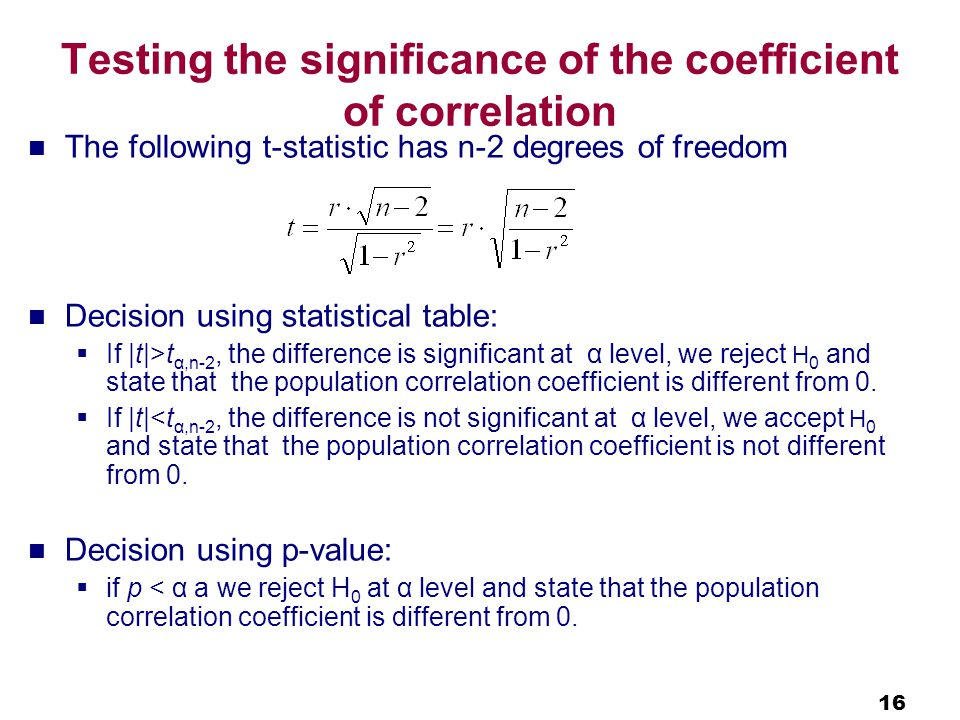 16 Testing the significance of the coefficient of correlation The following t-statistic has n-2 degrees of freedom Decision using statistical table:  If |t|>t α,n-2, the difference is significant at α level, we reject H 0 and state that the population correlation coefficient is different from 0.