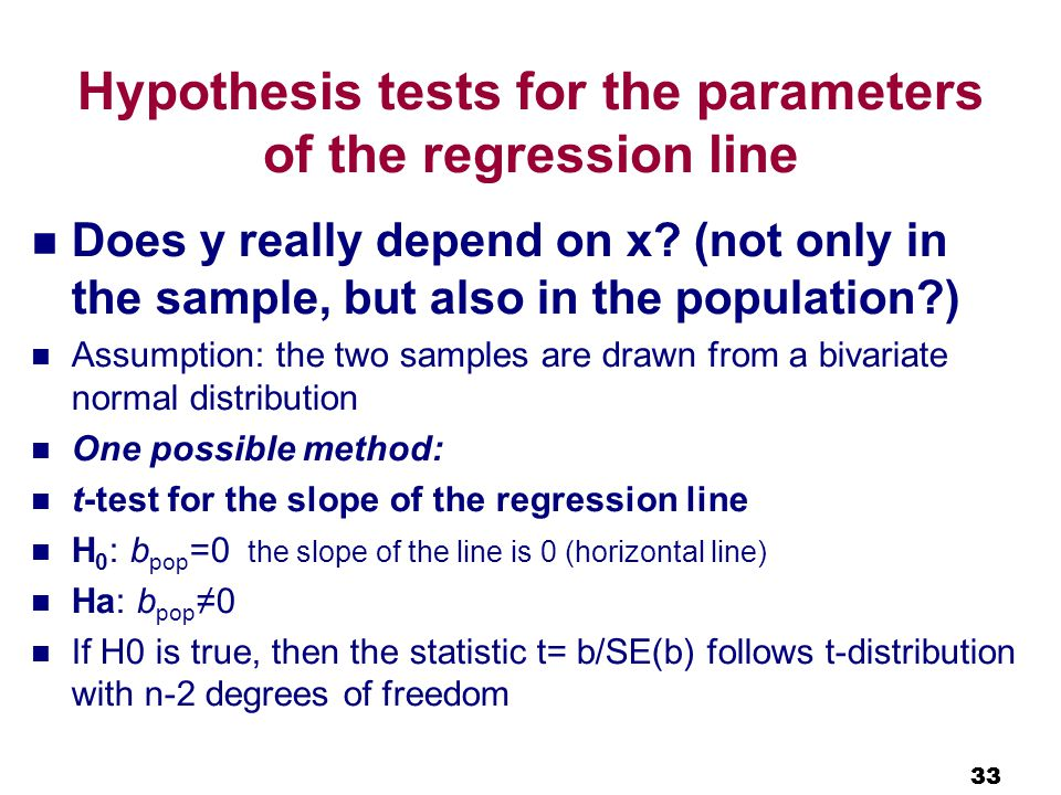 33 Hypothesis tests for the parameters of the regression line Does y really depend on x.