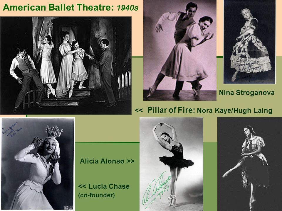 American Ballet Theatre: 1940s Nina Stroganova << Pillar of Fire: Nora Kaye/Hugh Laing Alicia Alonso >> << Lucia Chase (co-founder)