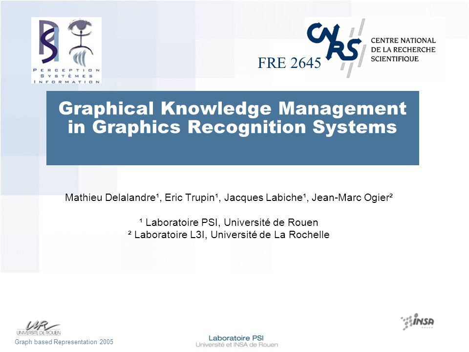 FRE 2645 Graph based Representation 2005 Graphical Knowledge Management in Graphics Recognition Systems Mathieu Delalandre¹, Eric Trupin¹, Jacques Labiche¹, Jean-Marc Ogier² ¹ Laboratoire PSI, Université de Rouen ² Laboratoire L3I, Université de La Rochelle