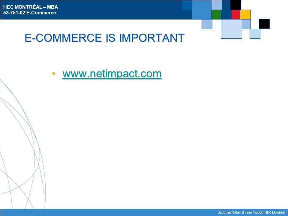 HEC MONTRÉAL – MBA 53-751-02 E-Commerce Jacques Robert & Jean Talbot, HEC Montréal E-COMMERCE IS IMPORTANT www.netimpact.comwww.netimpact.comwww.netimpact.com