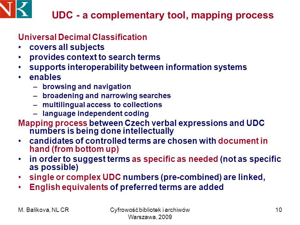 M. Balikova, NL CRCyfrowość bibliotek i archiwów Warszawa, 2009 10 UDC - a complementary tool, mapping process Universal Decimal Classification covers