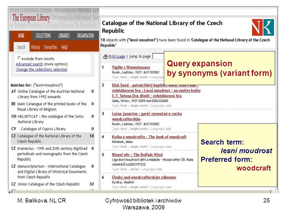 M. Balikova, NL CRCyfrowość bibliotek i archiwów Warszawa, 2009 25 Search term: lesní moudrost Preferred form: woodcraft Query expansion by synonyms (