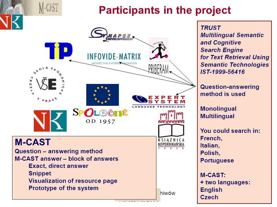 M. Balikova, NL CRCyfrowość bibliotek i archiwów Warszawa, 2009 5 Participants in the project TRUST Multilingual Semantic and Cognitive Search Engine
