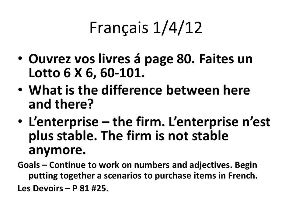 Français 1/4/12 Ouvrez vos livres á page 80. Faites un Lotto 6 X 6, 60-101.