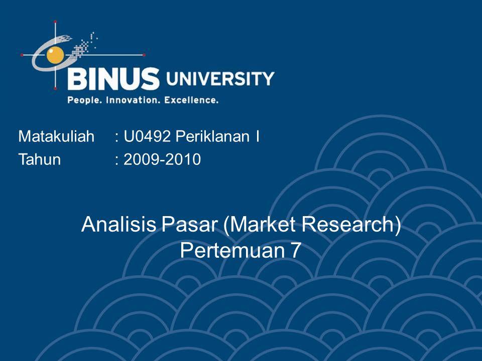Analisis Pasar (Market Research) Pertemuan 7 Matakuliah: U0492 Periklanan I Tahun: 2009-2010