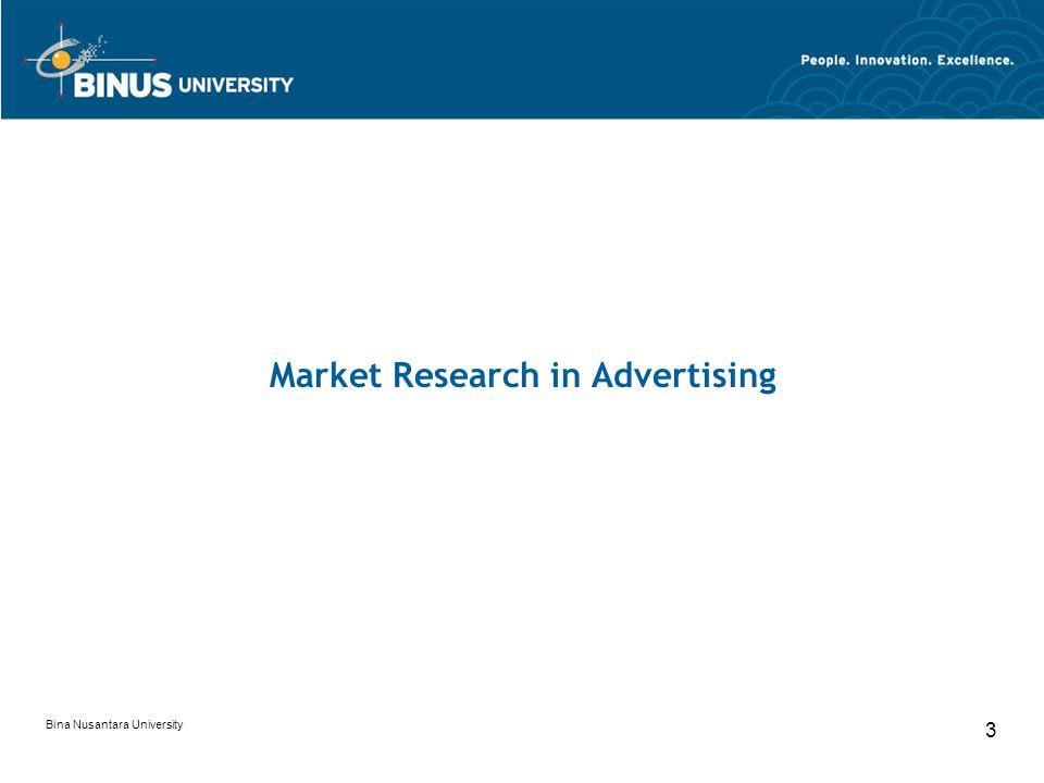 Bina Nusantara University 3 Market Research in Advertising