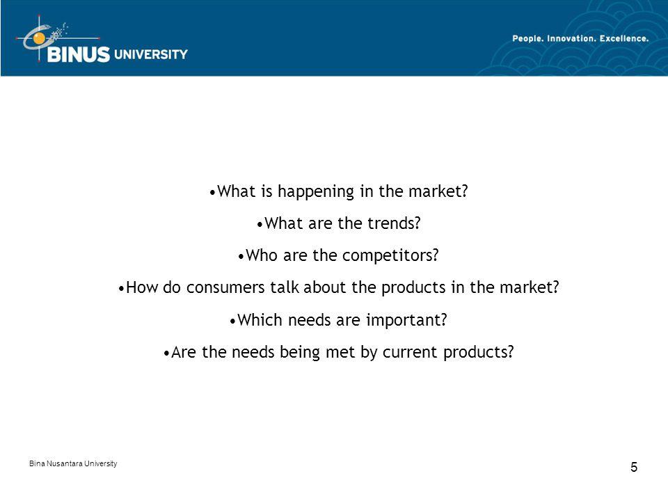 Bina Nusantara University 5 What is happening in the market.