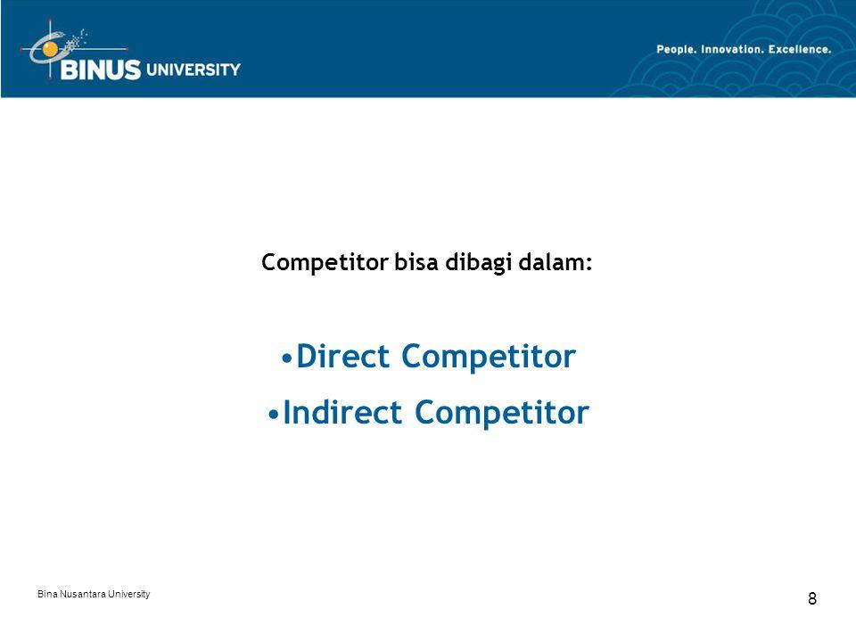 Bina Nusantara University 8 Competitor bisa dibagi dalam: Direct Competitor Indirect Competitor