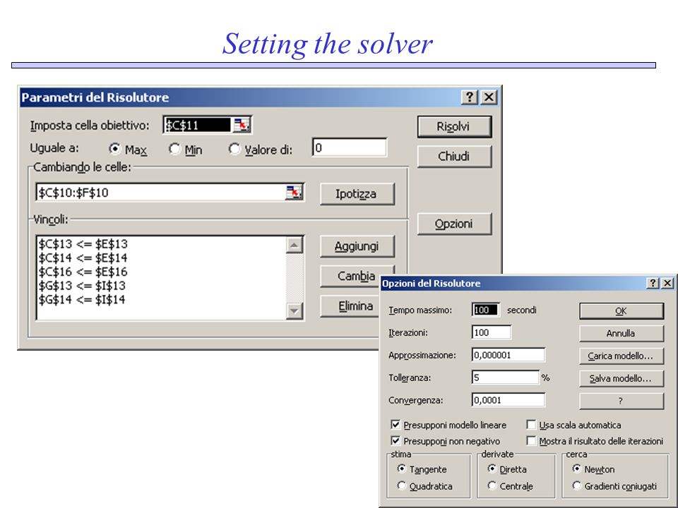 Setting the solver