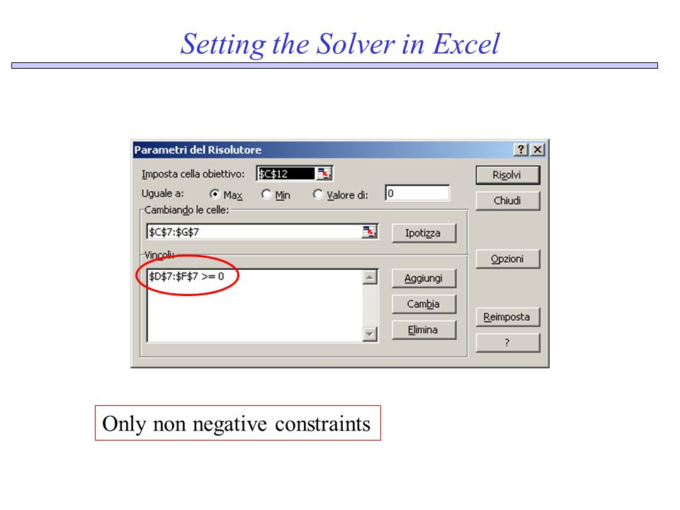 Setting the Solver in Excel Only non negative constraints