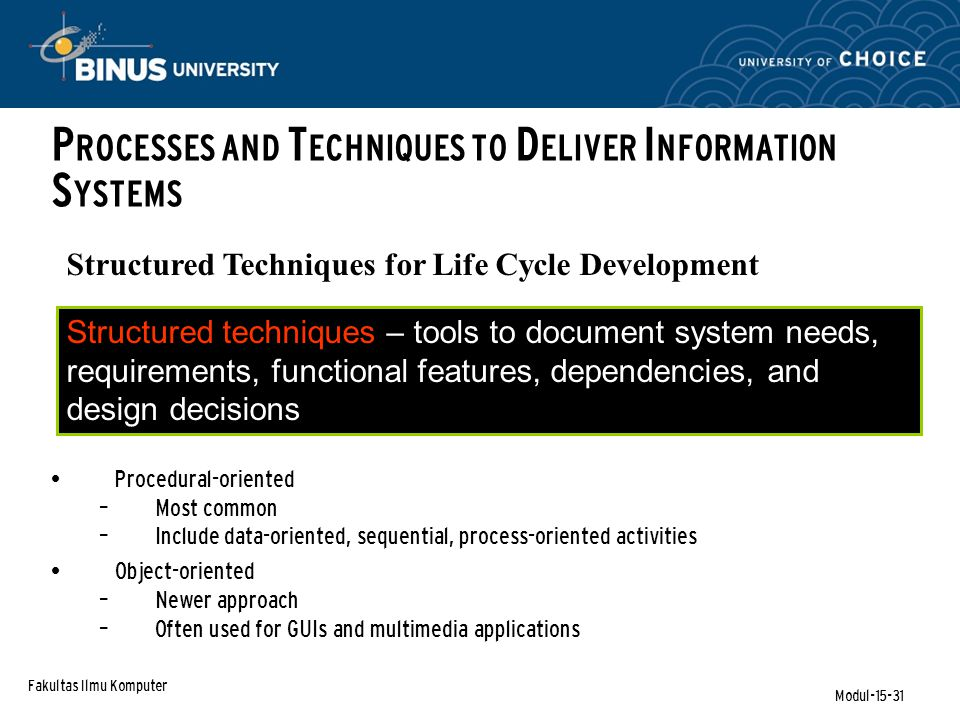 Fakultas Ilmu Komputer Modul-15-31 Structured Techniques for Life Cycle Development Structured techniques – tools to document system needs, requirements, functional features, dependencies, and design decisions Procedural-oriented – Most common – Include data-oriented, sequential, process-oriented activities Object-oriented – Newer approach – Often used for GUIs and multimedia applications P ROCESSES AND T ECHNIQUES TO D ELIVER I NFORMATION S YSTEMS
