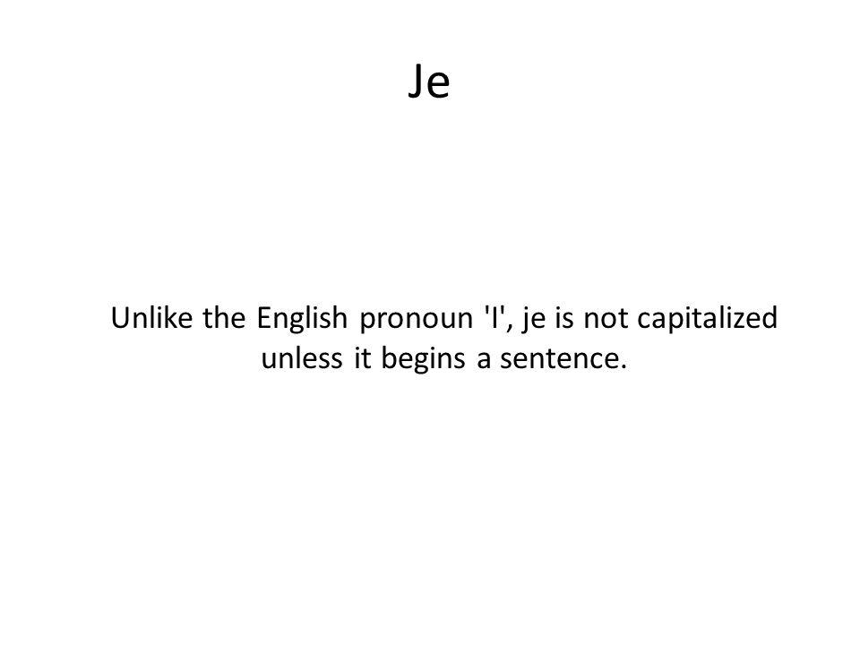 Je Unlike the English pronoun 'I', je is not capitalized unless it begins a sentence.
