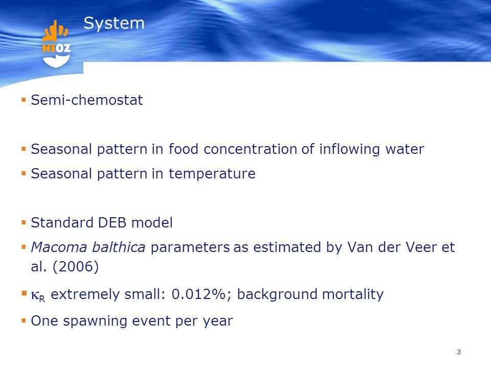 3 System  Semi-chemostat  Seasonal pattern in food concentration of inflowing water  Seasonal pattern in temperature  Standard DEB model  Macoma balthica parameters as estimated by Van der Veer et al.