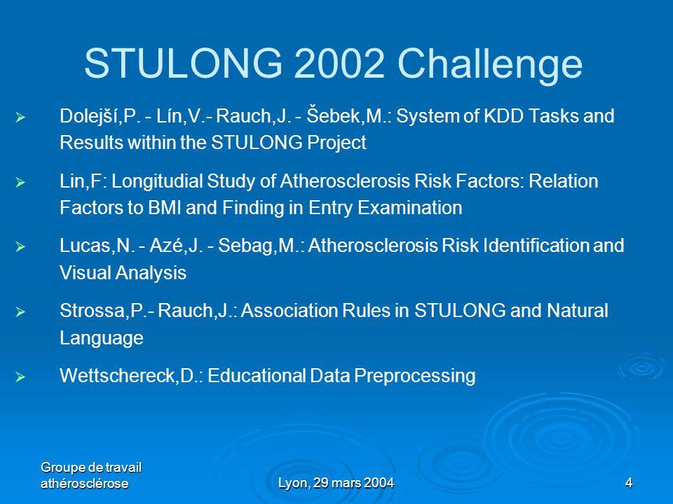 Groupe de travail athéroscléroseLyon, 29 mars 20044 STULONG 2002 Challenge   Dolejší,P.