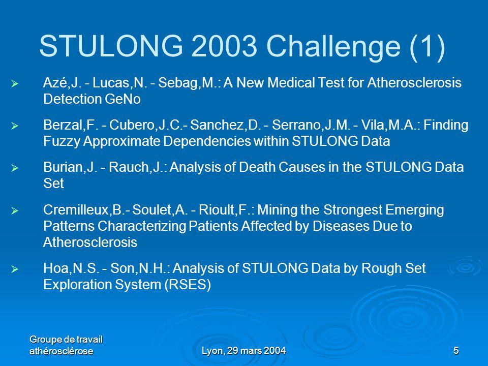 Groupe de travail athéroscléroseLyon, 29 mars 20045 STULONG 2003 Challenge (1)   Azé,J.