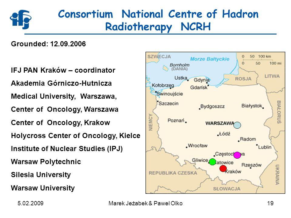 5.02.2009Marek Jeżabek & Pawel Olko19 Consortium National Centre of Hadron Radiotherapy NCRH Grounded: 12.09.2006 IFJ PAN Kraków – coordinator Akademi