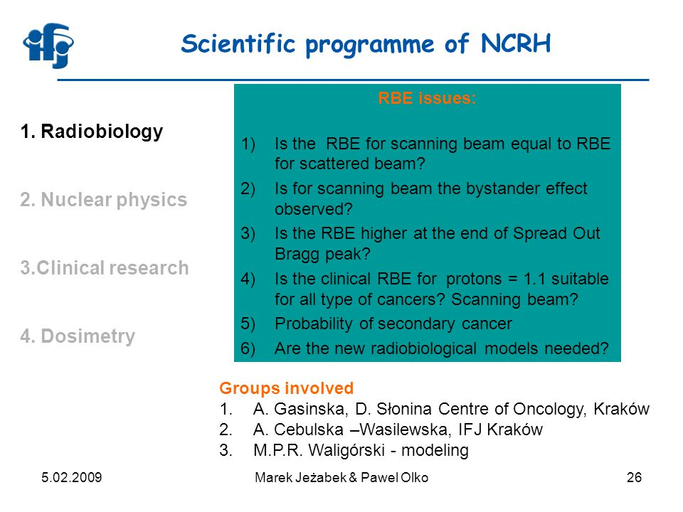 5.02.2009Marek Jeżabek & Pawel Olko26 Scientific programme of NCRH 1. Radiobiology 2. Nuclear physics 3.Clinical research 4. Dosimetry RBE issues: 1)I