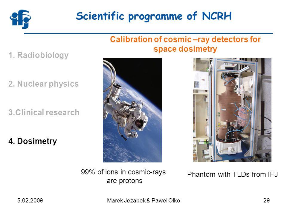 5.02.2009Marek Jeżabek & Pawel Olko29 Scientific programme of NCRH 1.