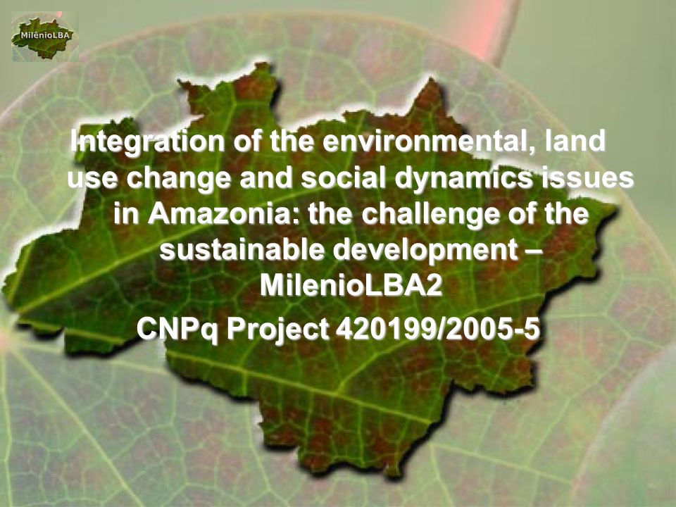 Integration of the environmental, land use change and social dynamics issues in Amazonia: the challenge of the sustainable development – MilenioLBA2 CNPq Project 420199/2005-5