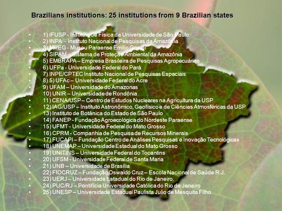 1) IFUSP - Instituto de Física da Universidade de São Paulo 2) INPA - Instituto Nacional de Pesquisas da Amazônia 3) MPEG - Museu Paraense Emilio Goeldi 4) SIPAM – Sistema de Proteção Ambiental da Amazônia 5) EMBRAPA – Empresa Brasileira de Pesquisas Agropecuárias 6) UFPa - Universidade Federal do Pará 7) INPE/CPTEC Instituto Nacional de Pesquisas Espaciais 8) 5) UFAc – Universidade Federal do Acre 9) UFAM – Universidade do Amazonas 10) UNIR – Universidade de Rondônia 11) CENA/USP – Centro de Estudos Nucleares na Agricultura da USP 12) IAG/USP – Instituto Astronômico, Geofísico e de Ciências Atmosféricas da USP 13) Instituto de Botânica do Estado de São Paulo 14) FANEP - Fundação Agroecológica do Nordeste Paraense 15) UFMT - Universidade Federal do Mato Grosso 16) CPRM - Companhia de Pesquisa de Recursos Minerais 17) FUCAPI – Fundação Centro de Análises Pesquisas e Inovação Tecnológicas 18) UNEMAP – Universidade Estadual do Mato Grosso 19) UNITINS – Universidade Federal do Tocantins 20) UFSM - Universidade Federal de Santa Maria 21) UNB – Universidade de Brasília 22) FIOCRUZ – Fundação Oswaldo Cruz – Escola Nacional de Saúde R.J.