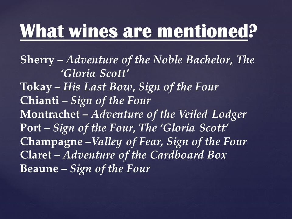What wines are mentioned.