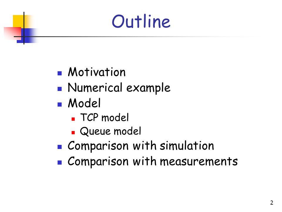 2 Outline Motivation Numerical example Model TCP model Queue model Comparison with simulation Comparison with measurements