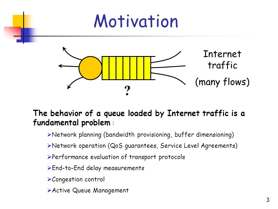 3 Internet traffic (many flows) ? Motivation The behavior of a queue loaded by Internet traffic is a fundamental problem :  Network planning (bandwid