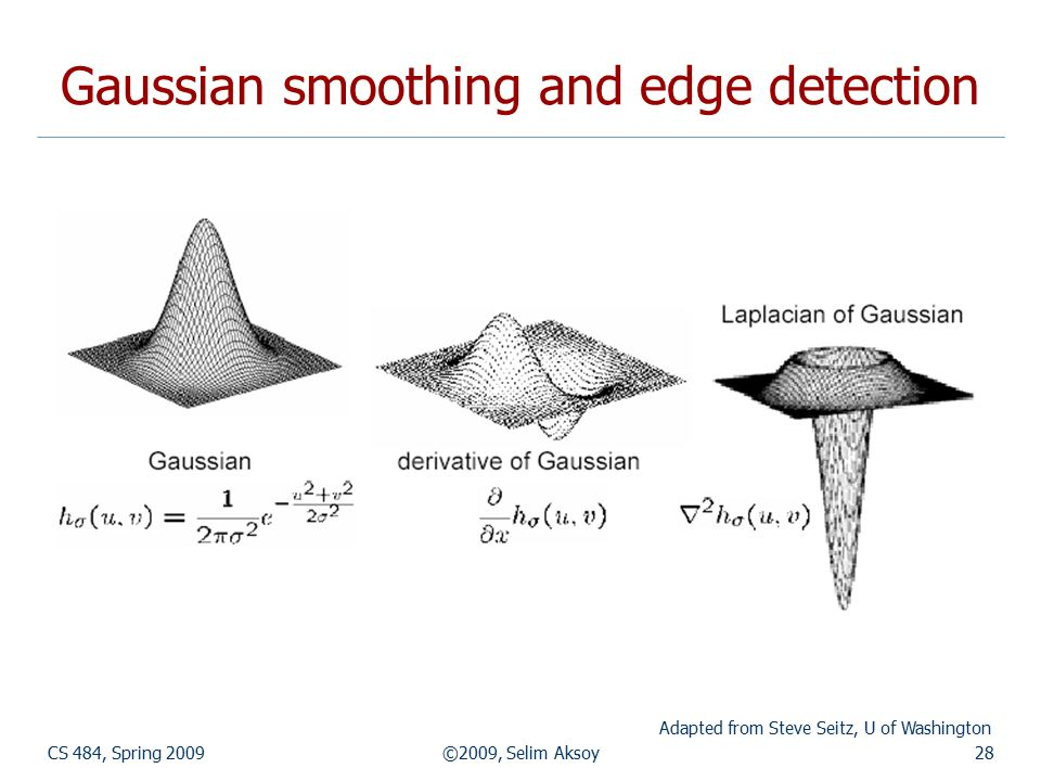 CS 484, Spring 2009©2009, Selim Aksoy28 Gaussian smoothing and edge detection Adapted from Steve Seitz, U of Washington