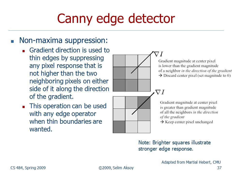 CS 484, Spring 2009©2009, Selim Aksoy37 Canny edge detector Non-maxima suppression: Gradient direction is used to thin edges by suppressing any pixel