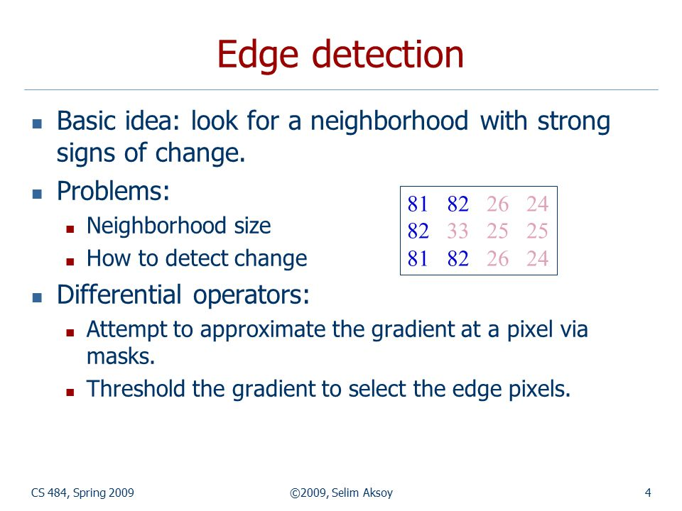 CS 484, Spring 2009©2009, Selim Aksoy35 Canny edge detector Canny defined three objectives for edge detection: 1.
