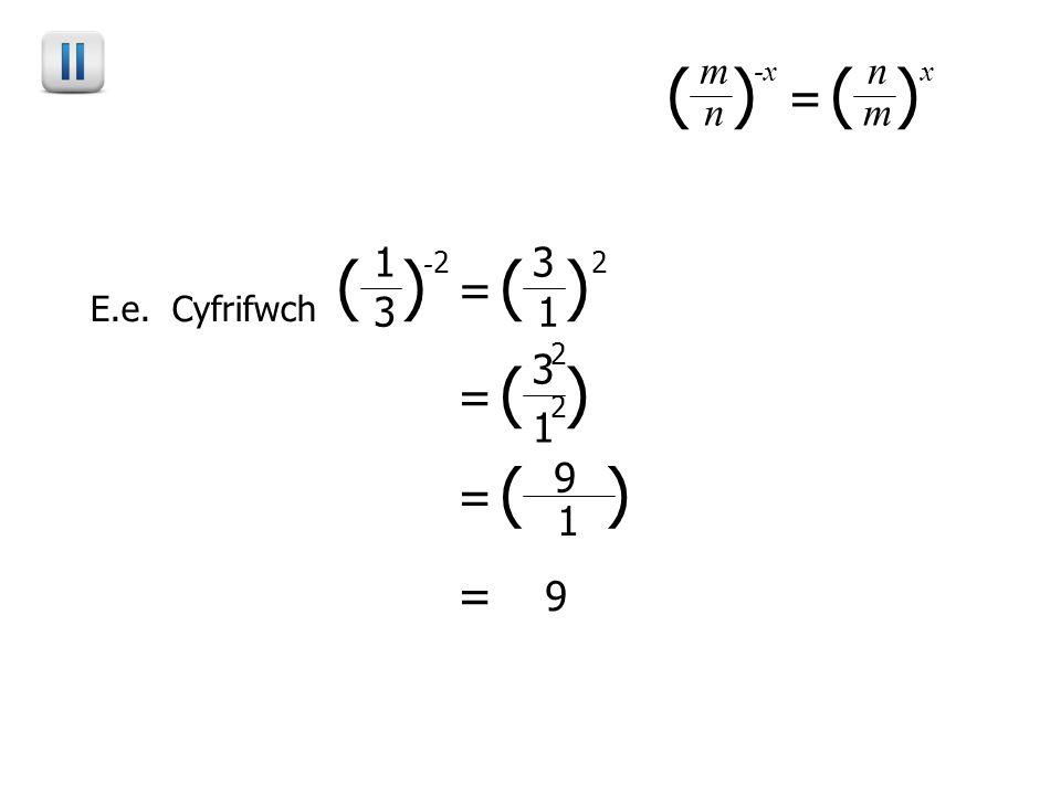 ( ) - 2 3 = 1 1 3 2 E.e. Cyfrifwch ( ) -x n = m ( ) m n x = 1 3 2 2 = 1 9 = 9