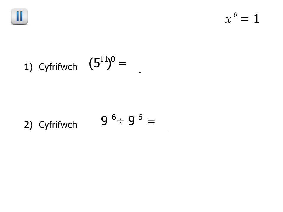 x 0 = 1 1) Cyfrifwch (5 ) 110 = 5 11 x 0 = 5 0 = 1 2) Cyfrifwch 9 ÷ 9 -6 = 9 -6 – - 6 = 9 0 = 1 -6 (Clip 57)