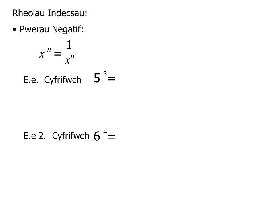 Rheolau Indecsau: Pwerau Negatif: E.e.Cyfrifwch E.e 2.