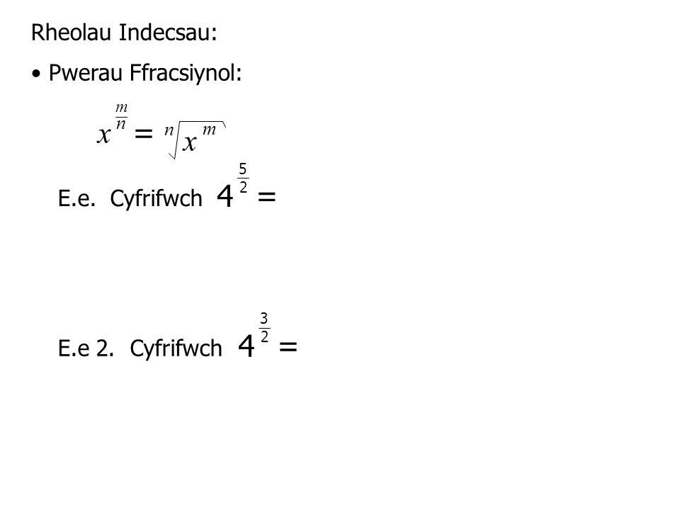 Rheolau Indecsau: Pwerau Ffracsiynol: E.e.Cyfrifwch E.e 2.