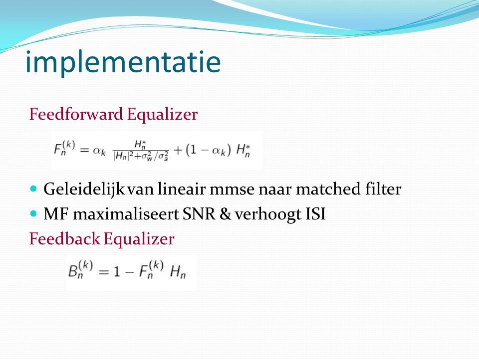 implementatie Feedforward Equalizer Geleidelijk van lineair mmse naar matched filter MF maximaliseert SNR & verhoogt ISI Feedback Equalizer