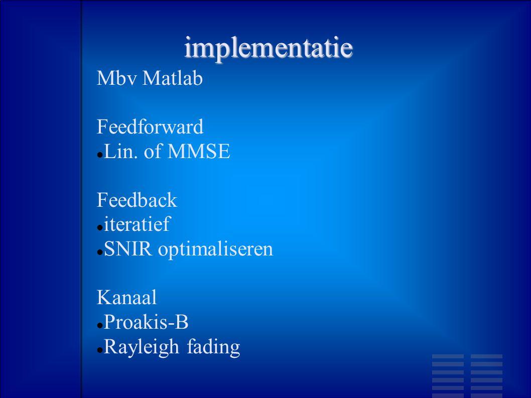implementatie Mbv Matlab Feedforward Lin.