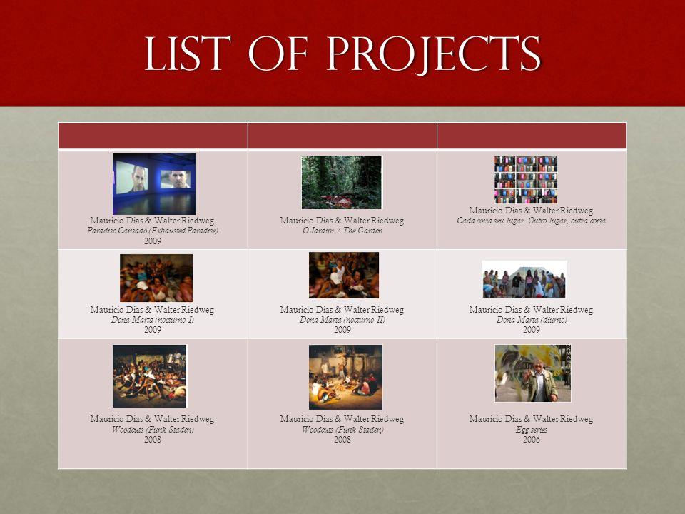 List of Projects Mauricio Dias & Walter Riedweg Paradiso Cansado (Exhausted Paradise) 2009 Mauricio Dias & Walter Riedweg O Jardim / The Garden Mauric