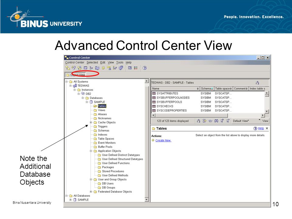 Bina Nusantara University 10 Note the Additional Database Objects Advanced Control Center View