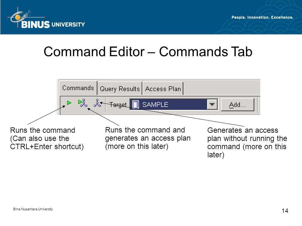 Bina Nusantara University 14 Runs the command (Can also use the CTRL+Enter shortcut) Runs the command and generates an access plan (more on this later) Generates an access plan without running the command (more on this later) Command Editor – Commands Tab