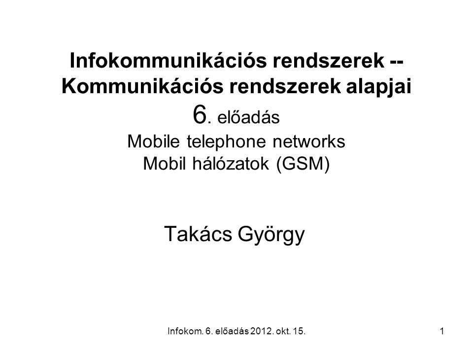 Infokom. 6. előadás 2012. okt. 15.1 Infokommunikációs rendszerek -- Kommunikációs rendszerek alapjai 6. előadás Mobile telephone networks Mobil hálóza