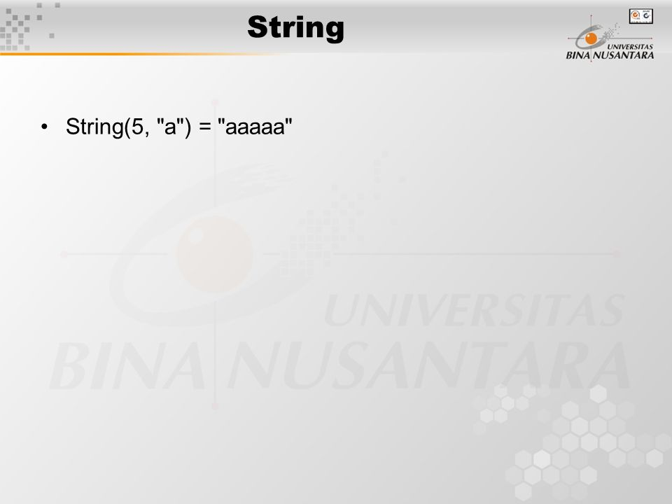 String String(5,