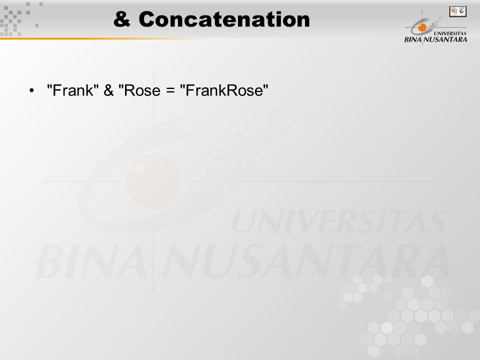 & Concatenation