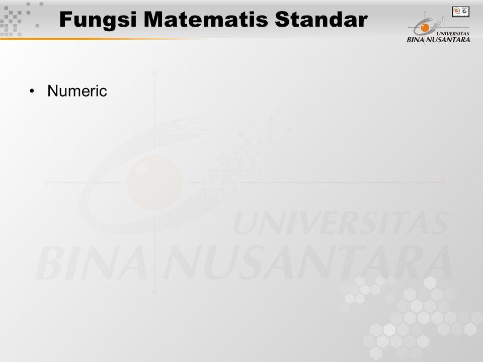 Fungsi Matematis Standar Numeric