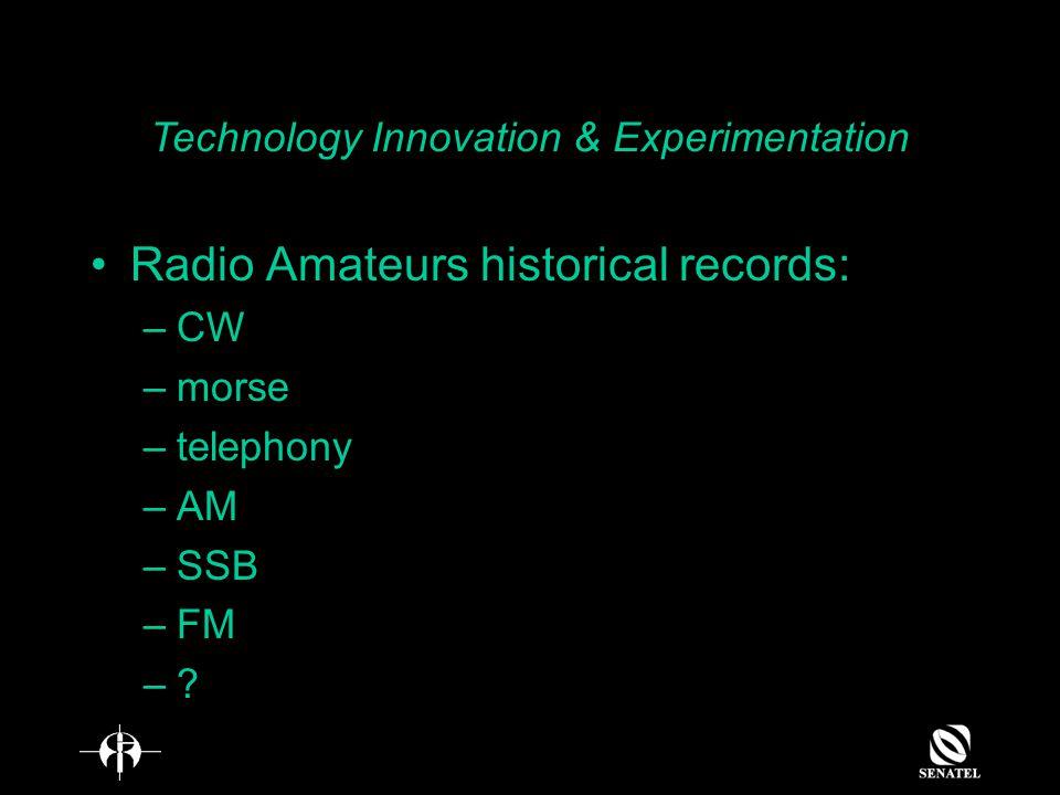 Radio Amateurs historical records: –CW –morse –telephony –AM –SSB –FM –.