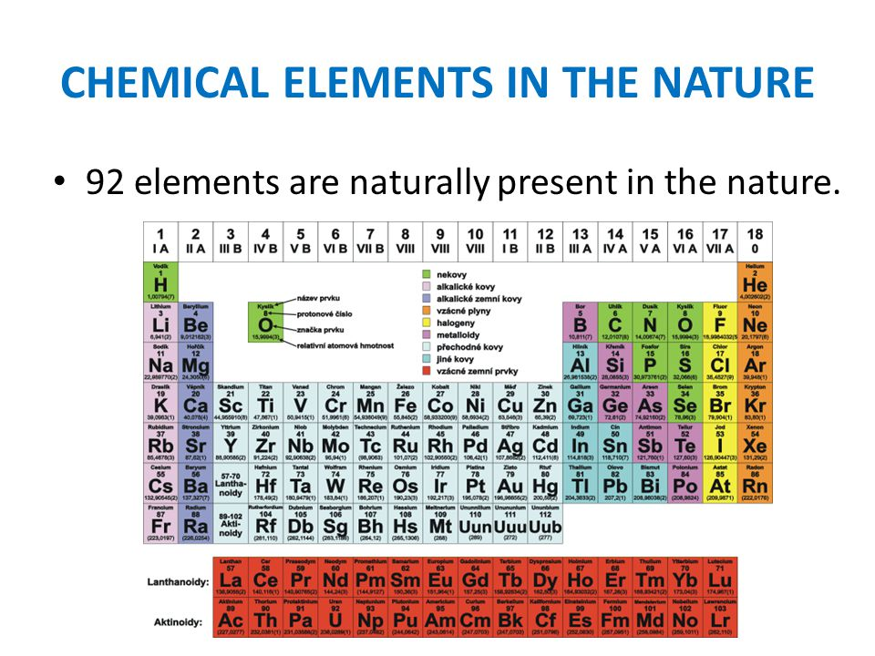 CHEMICAL ELEMENTS IN THE NATURE 92 elements are naturally present in the nature.